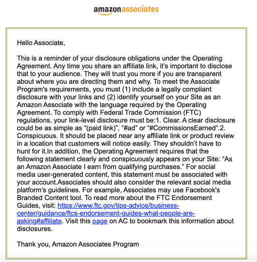 Amazon Associates Link Disclosure Compliance